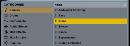 """Девайсы доступны из меню Categories (Категории). В категории """"Sounds"""" можно найти как пресеты различных инструментов, так и Instrument Racks  (контейнеры инструментов)."""