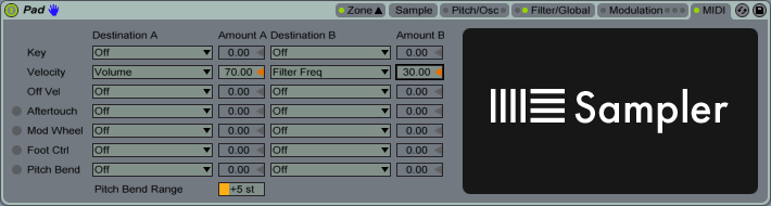 Sampler MIDI Tab