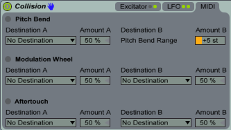 Collision MIDI Section